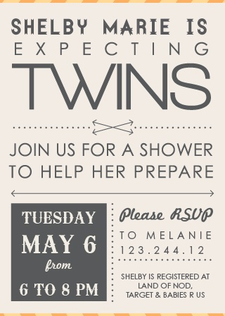 Twin Arrows Baby Shower Invitation