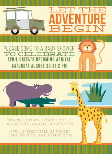 The best kind of baby shower is a safari themed baby shower with lots and lots of animals!! So, we introduce our animal safari!! Customize the colors and fonts and personalize it instantly online!! Have some fun with this one!