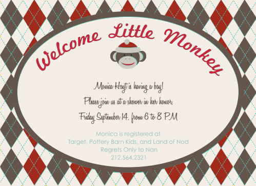 Customize the colors and fonts in this sock monkey style baby shower invitation! Personalize it and see your changes instantly as you go! Have some fun making your invitation one of a kind!