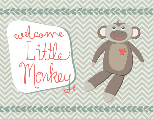 Monkey baby shower invitations match your color style free monkey tribe mini fold baby shower invitations filmwisefo