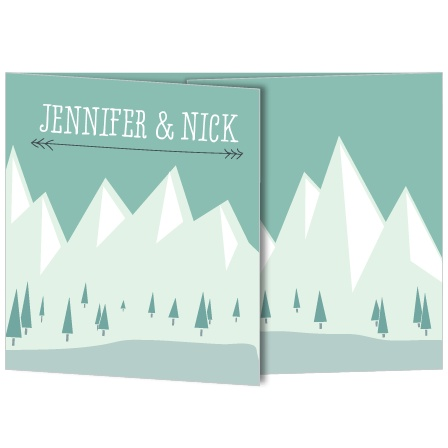 Stand out from all the other soon-to-be-newlyweds with this playfully modern wedding invite. With the mountain themed illustrative aesthetic your guests will be looking forward to your special day.