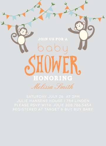 Who doesn't love monkeys? Customize this baby shower with your favorite colors and personalize everything instantly online!