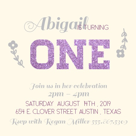 This Purple Glittered One Year Old Birthday Invitation is the bee's knees!