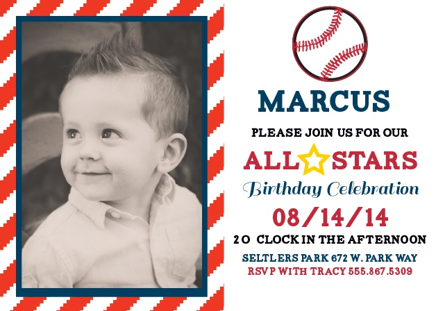 Out of the park! The All Star Baseball First Birthday Invitations is a great way to let everyone know about this major milestone.
