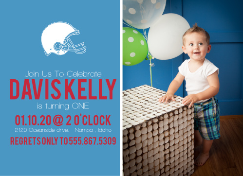 The Football Helmet First Birthday invite is sure to set the mood for your childs first milestone!