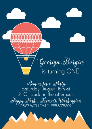 It's a bird! It's a plane! It's an adorably cute hot air balloon! It's the perfect invitation to your little one's first birthday bash!