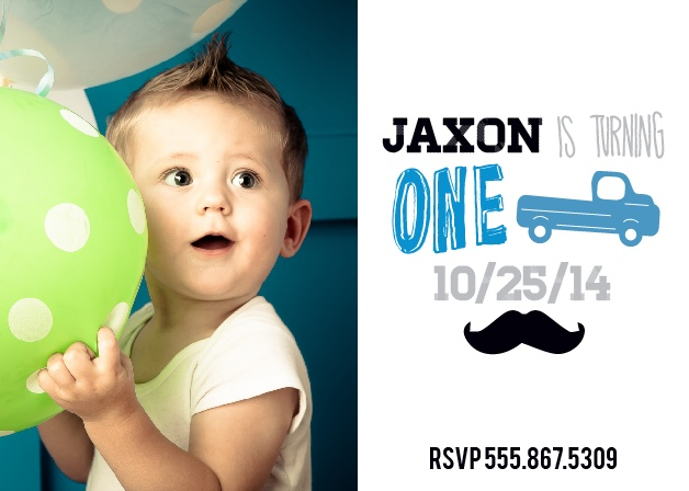 The Truck and Mustache First Birthday Invite is perfect for you little man! A super cute invite to let everyone know about his big day!