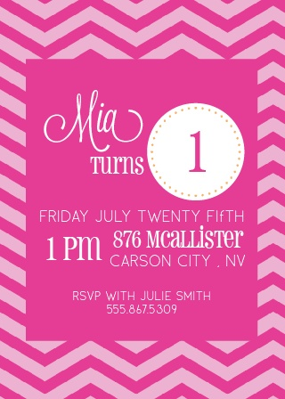 Embellished Circle First Birthday Invitations