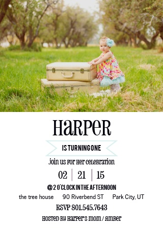 Simple Banner First Birthday Invitations