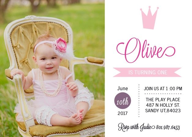 Crowned First Birthday Invitations