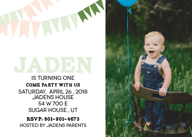 This invite is adorned with the cutest little pennant banner you ever did see. Strung across the top, you know its going to get your guests in the mood to celebrate your little one.