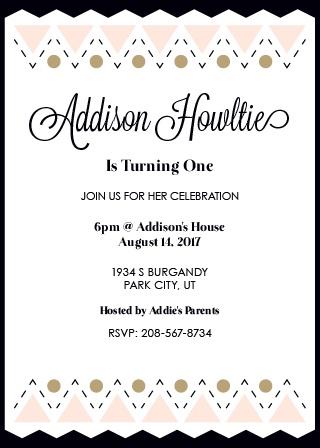 Triangle Elegance First Birthday Invitations