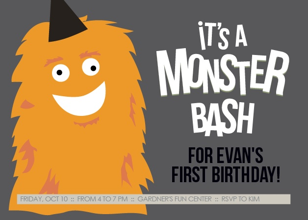This invite is adorned with the cutest little monster you ever did see. You know its going to get your guests in the mood to celebrate your little one.