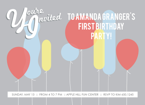 This invite is adorned with the cutest little balloons you ever did see. You know its going to get your guests in the mood to celebrate your little one.