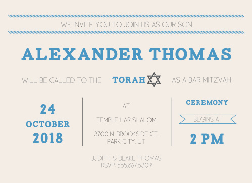 This Bar Mitzvah invite has lots of room for all the information you need, while still being clean and classy.