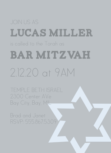 If you're looking for a card thats simple but still makes a bold statement, you'll love the Star Of David Bar Mitzvah invite!