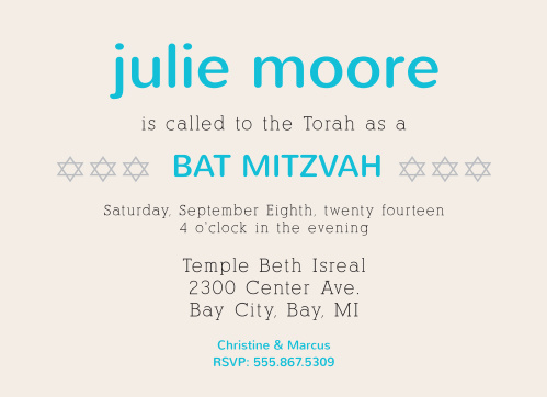 This Bat Mitzvah invite is perfect for someone looking for a modern, trendy, yet still classic Bat Mitzvah invite.