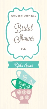 The Tea Cup Stack invite has a elegant and creative design that fits perfectly with your tea party bridal shower.