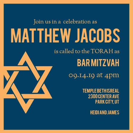 With its big bold lettering, and hefty border, this invite is the perfect Bar Mitzvah invite for someone looking to make an impression.