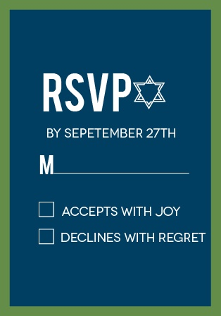 Bordered Bar Mitzvah RSVP Cards