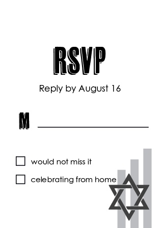 Obtain your guests attendance by sending out this RSVP card. Customize the colors and fonts to match you Bar Mitzvah theme exactly!