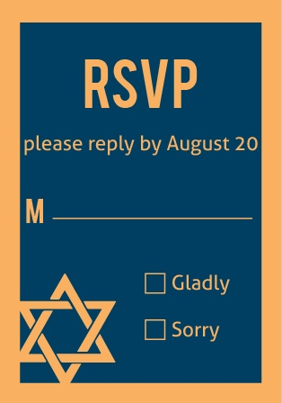Bold Bordered Bar Mitzvah RSVP Cards
