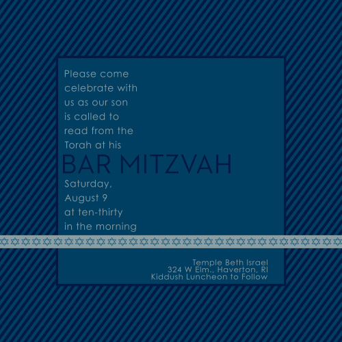 This Bar Mitzvah Invitation is the perfect choice for anyone wanting an invite that is straightforward, with just a touch of personality. Tons of room to add the information you need to, and a great monogram to make it 100% you.