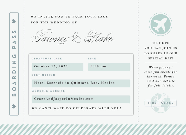 All aboard! This delightfully cute wedding invitation in the style of a boarding pass is perfect for your wedding; destination or otherwise!