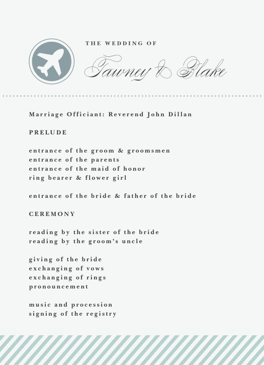 The Boarding Pass wedding program is a perfect match to the rest of the Boarding Pass wedding suite.