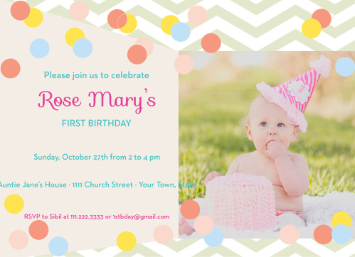 This invite is adorned with the cutest Baby Dots you ever did see. You know its going to get your guests in the mood to celebrate your little one.