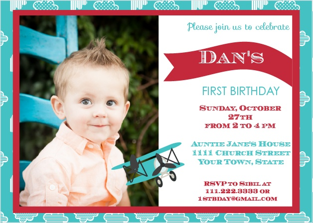 This invite is adorned with the cutest Airplane you ever did see. You know its going to get your guests in the mood to celebrate your little one.