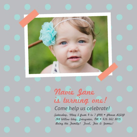 Get your guests excited for your little one's first birthday with this cute photo themed invite.