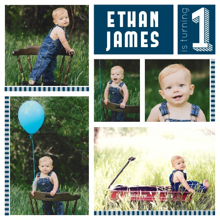 Your guests are going to love this photo themed invite, full of pictures of your adorable little one! Customize the colors and font to match your theme.
