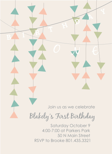 This invite is adorned with the cutest little banner you ever did see. You know its going to get your guests in the mood to celebrate your little one.