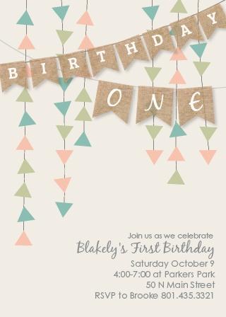 Burlap Banner Birthday Invitations