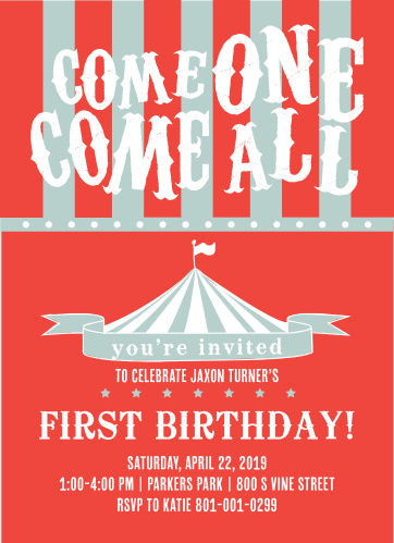 This invite is adorned with the cutest little Circus Tent you ever did see. You know its going to get your guests in the mood to celebrate your little one.