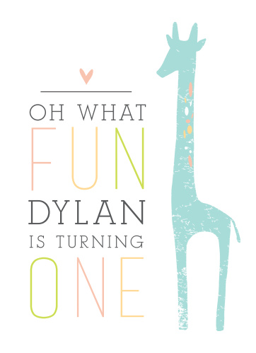 This Fun Giraffe first birthday invitation is just what you've been looking for!