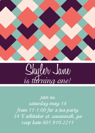 Quilted Ribbon First Birthday Invitations