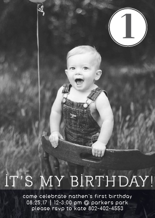 The It's My Birthday first birthday card lets your toddler be the start of the show with a the front of the card being filled with a full photo.