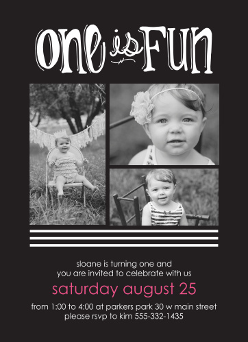 The Photo Classic first birthday invitations offer space for 3 big photos in the center of the card with plenty of room for the party details below.