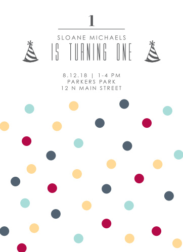 This polka dot themed invitation gives a fun and colorful way to announce your son or daughter's party.