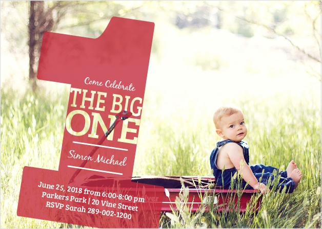 The Big One first birthday invitations are a fund photo invitations that is sure to make your guests smile.
