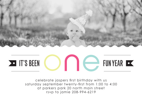 The One Fun Year offers a cute crafty look with a scalloped border for your favorite photo that stretches the entire card.