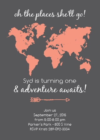 The Places You'll Go First Birthday Invitations