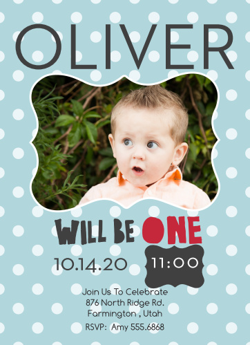 The Will Be One first birthday invitations with their scalloped photo frame and polka dot background offer a trendy and unique twist to the traditional invite design.
