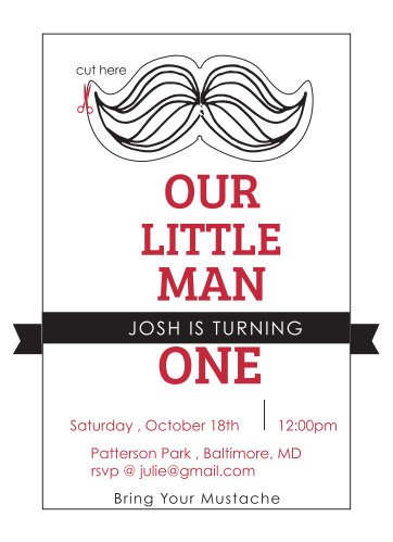 The Our Little Man first birthday invitations are not only a invitation but also double as party decor.