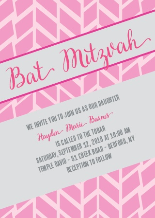 Angled Modern Bat Mitzvah Invitations