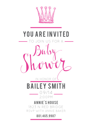 The Little Royalty baby shower invite is not only elegant and classy, but it's also completely yours to customize! Choose from over 160 different color and font options to create a truly one of a kind card.