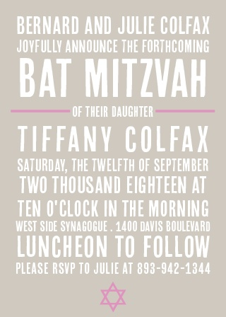 Subway Bat Mitzvah Invitations