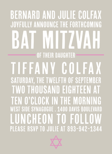 The Subway Bat Mitzvah is a fun, stylish, and trendy invite that your guests will just love!